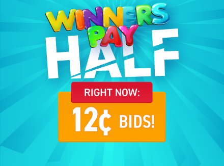 Winners Pay Half!: Buy bids for only 12 cents each!